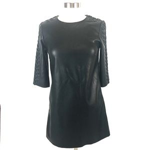 NWOT Zara faux leather black mini dress XS